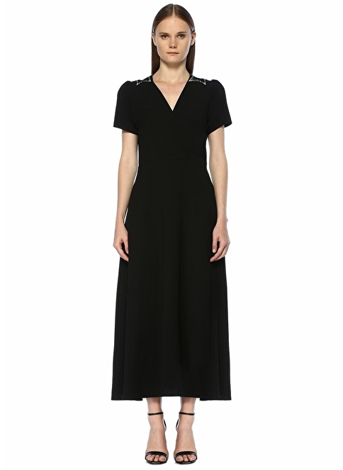 Academia V Yaka Midi Elbise Siyah